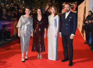Olivia Colman, Rachel Weisz, Emma Stone and Yorgos Lanthimos The Favourite UK Premiere during 62nd BFI London Film Festival
