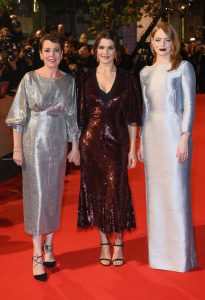 Olivia Colman, Rachel Weisz and Emma Stone The Favourite UK Premiere during 62nd BFI London Film Festival
