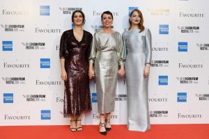 Rachel Weisz, Olivia Colman and Emma Stone The Favourite UK Premiere during 62nd BFI London Film Festival