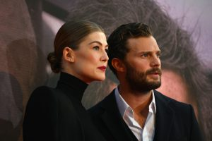 Rosamund Pike and Jamie Dornan attend the European premiere of A Private War during the 62nd BFI London Film Festival in Leicester Square.