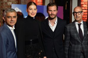 Sadiq Khan, Rosamund Pike, Jamie Dornan and Stanley Tucci attend the European premiere of A Private War during the 62nd BFI London Film Festival in Leicester Square.