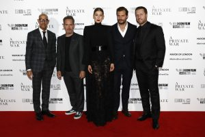 Stanley Tucci, Tom Hollander, Rosamund Pike, Jamie Dornan and Matthew Heineman attend the European premiere of A Private War during the 62nd BFI London Film Festival in Leicester Square.