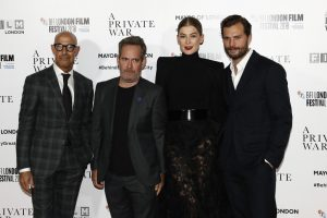 Stanley Tucci, Tom Hollander, Rosamund Pike and Jamie Dornan attend the European premiere of A Private War during the 62nd BFI London Film Festival in Leicester Square.