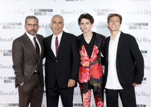 Steve Carell, David Sheff, Timothée Chalamet and Nic Sheff Beautiful Boy UK premiere during 62nd BFI London Film Festival