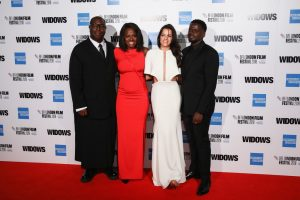 Steve McQueen, Viola Davis, Michelle Rodriguez and Daniel Kaluuya attend the European premiere of 'Widows' during the 62nd BFI London Film Festival 2018
