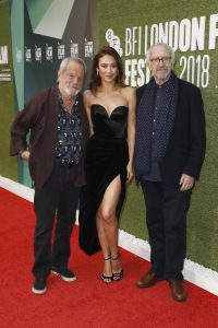 Terry Gilliam, Olga Kurylenko and Jonathan Pryce attends the premiere of The Man Who Killed Don Quixote during the 62nd BFI London Film Festival