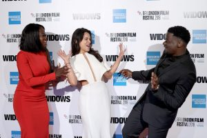 Viola Davis, Michelle Rodriguez and Daniel Kaluuya attend the European premiere of 'Widows' during the 62nd BFI London Film Festival 2018