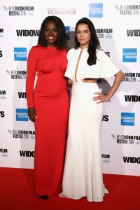 Viola Davis and Michelle Rodriguez attend the European premiere of 'Widows' during the 62nd BFI London Film Festival 2018