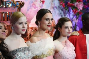 Ellie Bamber, Keira Knightley and Mackenzie Foy attend the European premiere of Disney's Nutcracker and the Four Realms held at Westfield, London.
