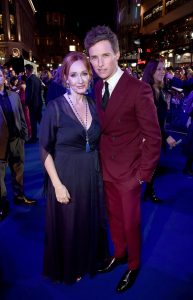 J.K. Rowling and Eddie Redmayne attends the UK premiere of Fantastic Beasts: Crimes of Grindelwald in Leicester Square, London.