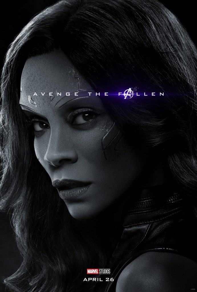 Marvel Avengers Endgame Official Character Posters Avenge the Fallen Zoe Saldana as Gamora