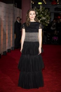 Keira Knightley attends the world premiere of The Aftermath in London.