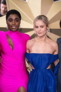 Lashana Lynch and Brie Larson attends the European premiere of Captain Marvel in London.