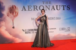 Felicity Jones attends the UK premiere of The Aeronauts during the 63rd BFI London Film Festival