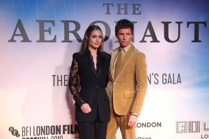 Hannah Bagshawe and Eddie Redmayne attends the UK premiere of The Aeronauts during the 63rd BFI London Film Festival