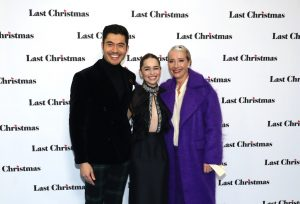 Henry Golding, Emilia Clarke and Emma Thompson attend the UK premiere of Last Christmas