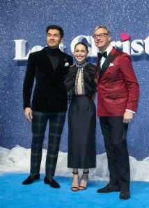 Henry Golding, Emilia Clarke and Paul Feig attend the UK premiere of Last Christmas in London