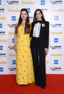 Katherine Langford and Ana de Armas at the European premiere of Knives Out held during the 63rd BFI London Film Festival
