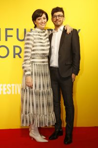 Marielle Heller and Jorma Taccone at the UK premiere of A Beautiful Day in the Neighbourhood held during 63rd BFI London Film Festival