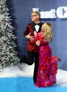 Paul Feig and Kylie Minogue attend the UK premiere of Last Christmas in London