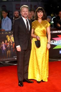 Rian Johnson and Karina Longworth at the European premiere of Knives Out held during the 63rd BFI London Film Festival