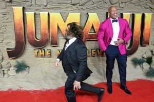 Dwayne Johnson and Jack Black attend the UK premiere of Jumanji: The Next Level in London