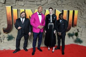 Jack Black, Dwayne Johnson, Karen Gillan and Kevin Hart attend the UK premiere of Jumanji: The Next Level in London