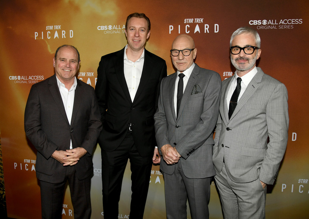 David Stapf, Marc DeBevoise, Patrick Stewart and Alex Kurtzman Star Trek Picard Hollywood Los Angeles Premiere Series 1