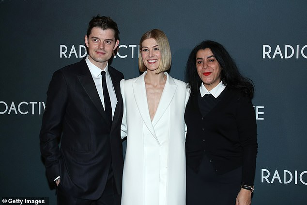 Sam Riley, Rosamund Pike and Marjane Satrapi Radioactive Paris Premiere France