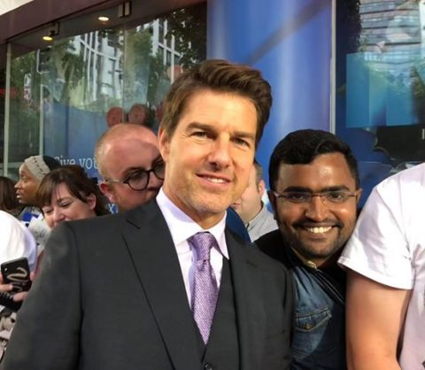 Rajeshwaran Sarangarajan with Tom Cruise at the Mission: Impossible–Fallout premiere in London