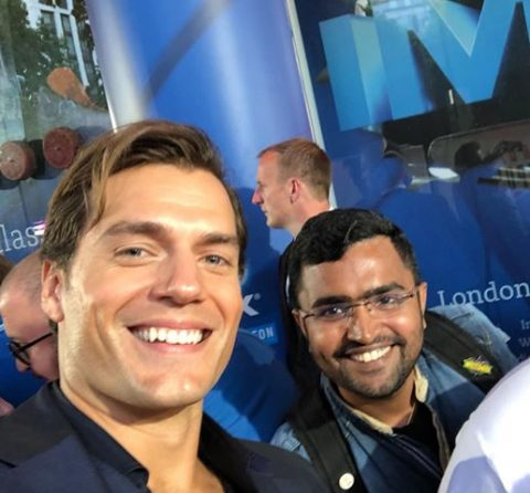 Rajeshwaran Sarangarajan with Henry Cavill at the Mission: Impossible–Fallout premiere in London