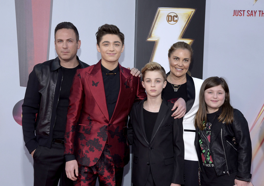 Asher Angel and family Shazam! World Premiere Los Angeles