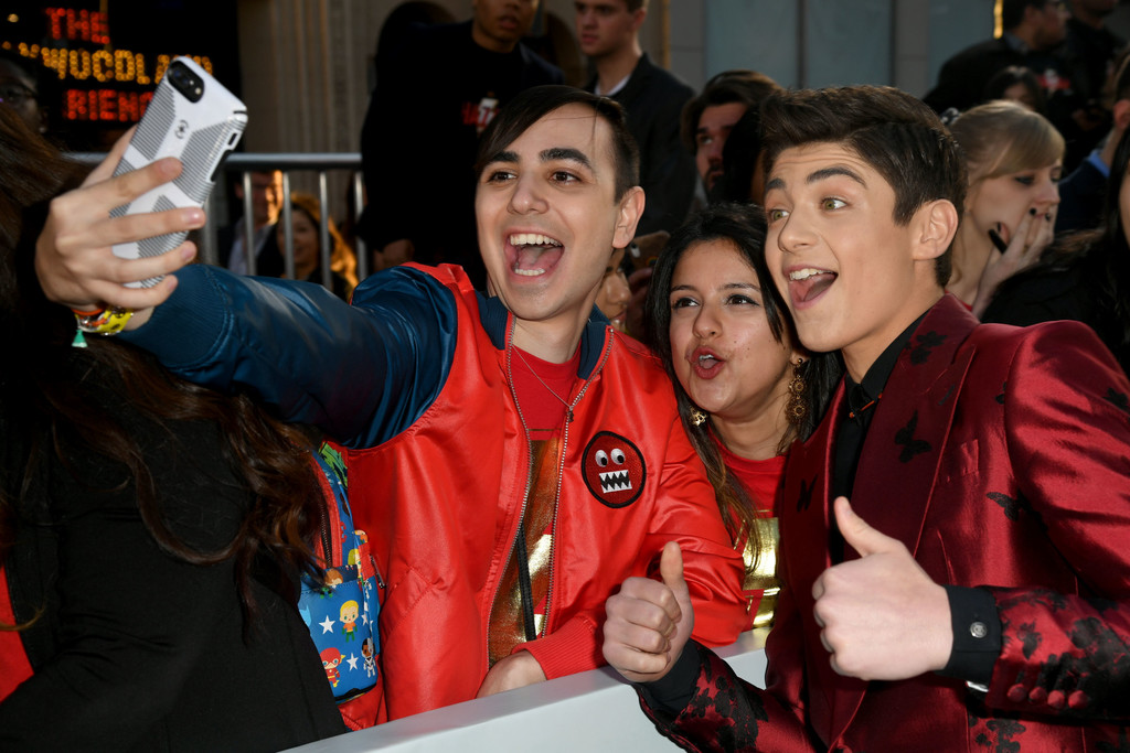 Asher Angel and fans Shazam! World Premiere Los Angeles