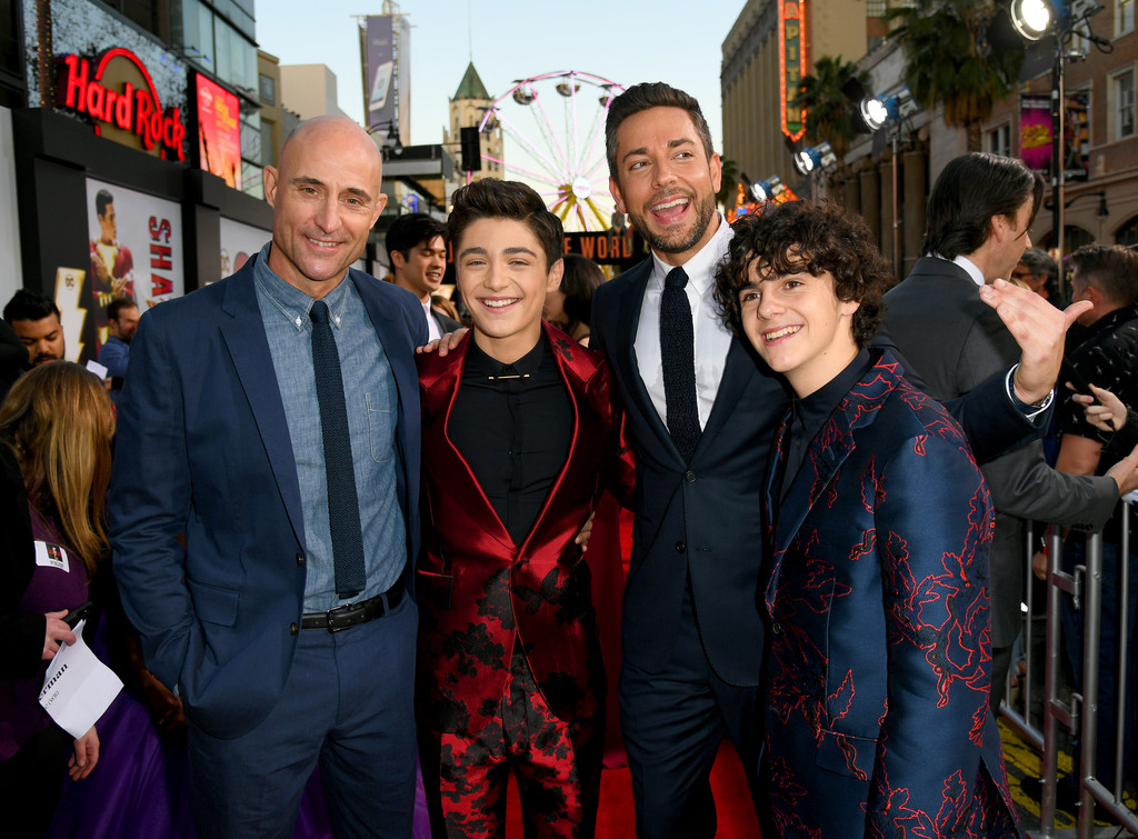 Mark Strong, Asher Angel, Zachary Levi and Jack Dylan Grazer Shazam! World Premiere Los Angeles