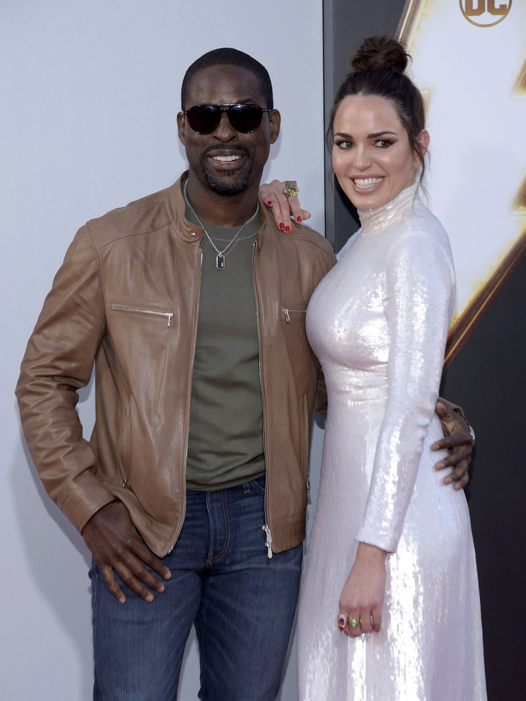 Sterling K. Brown and Marta Milans Shazam! World Premiere Los Angeles