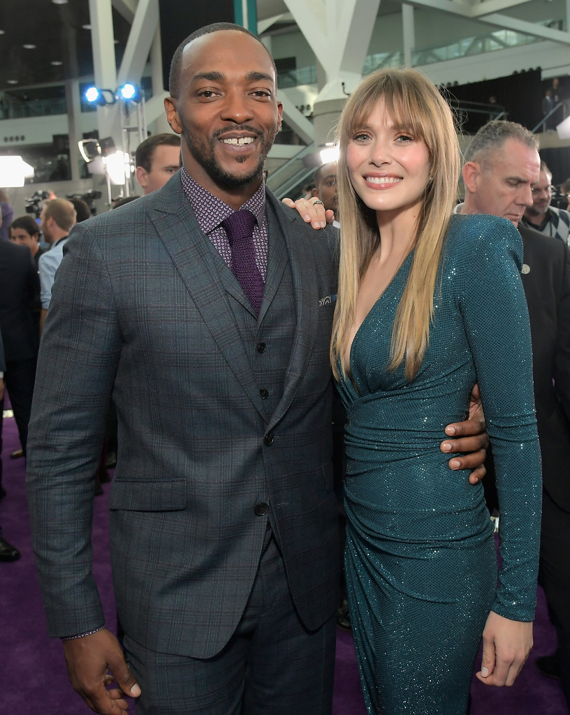 Anthony Mackie and Elizabeth Olsen Marvel Avengers Endgame World Premiere Los Angeles Hollywood