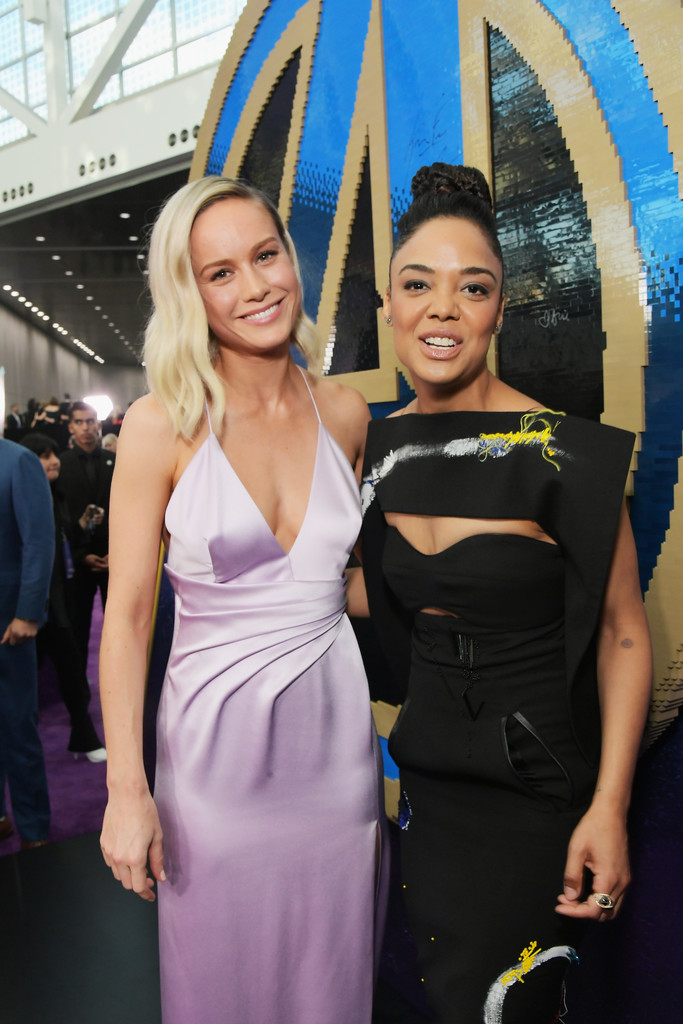 Brie Larson and Tessa Thompson Marvel Avengers Endgame World Premiere Los Angeles Hollywood