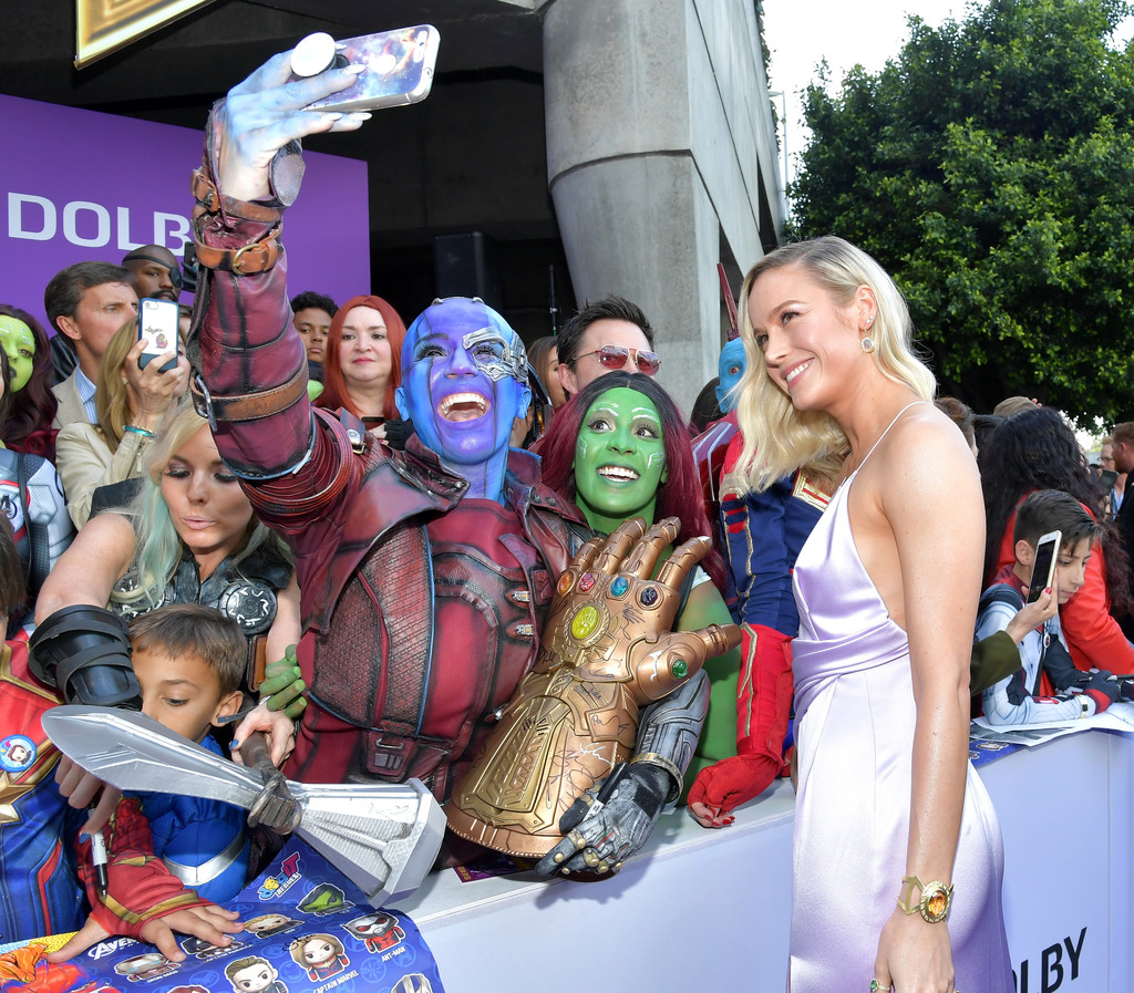 Brie Larson and fans Marvel Avengers Endgame World Premiere Los Angeles Hollywood