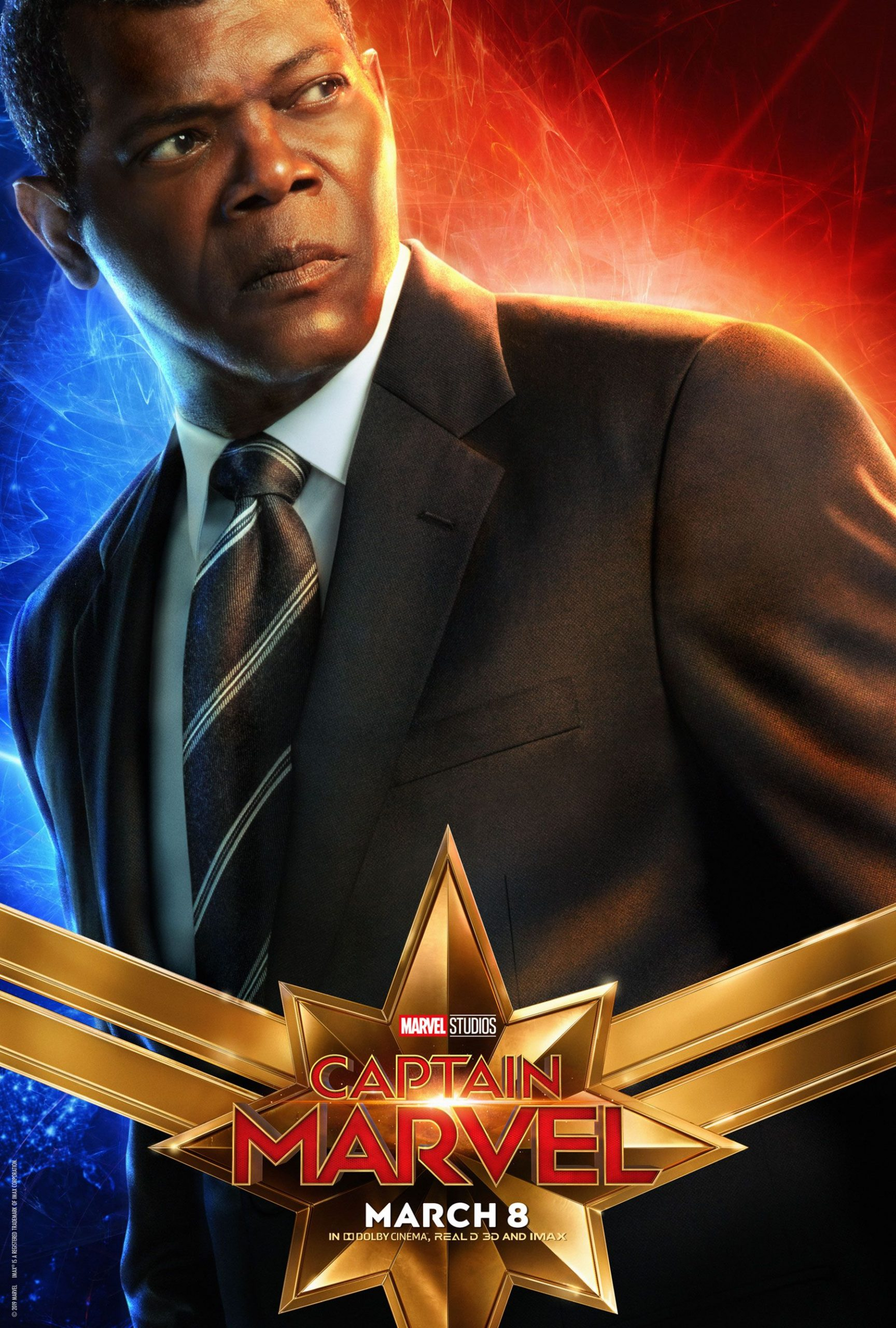 Captain Marvel Character Posters Samuel L Jackson as Nick Fury