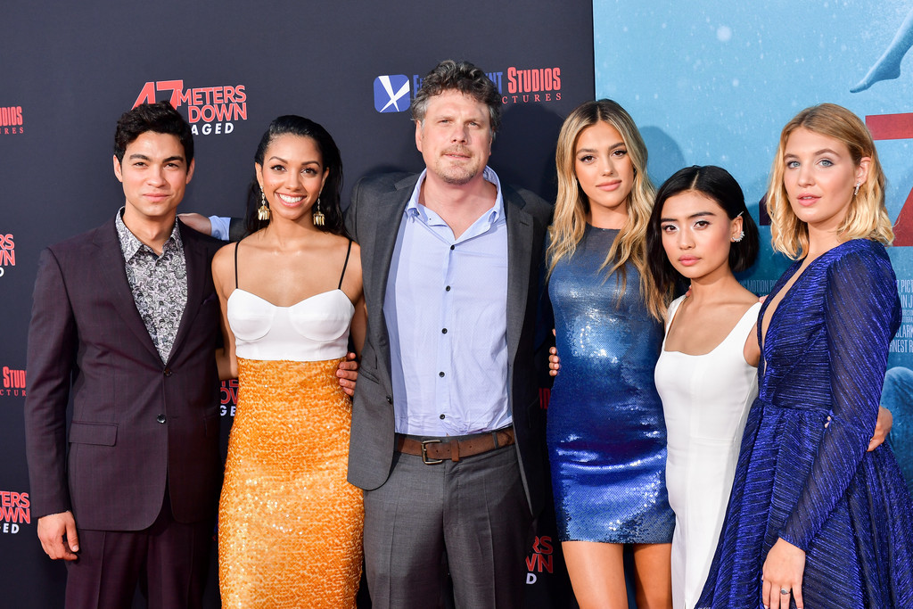 Cast and Director 47 Meters Down Uncaged Los Angeles Premiere