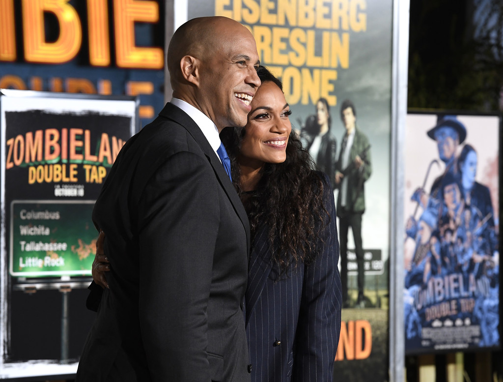 Cory Booker and Rosario Dawson Zombieland Double Tap Los Angeles Premiere