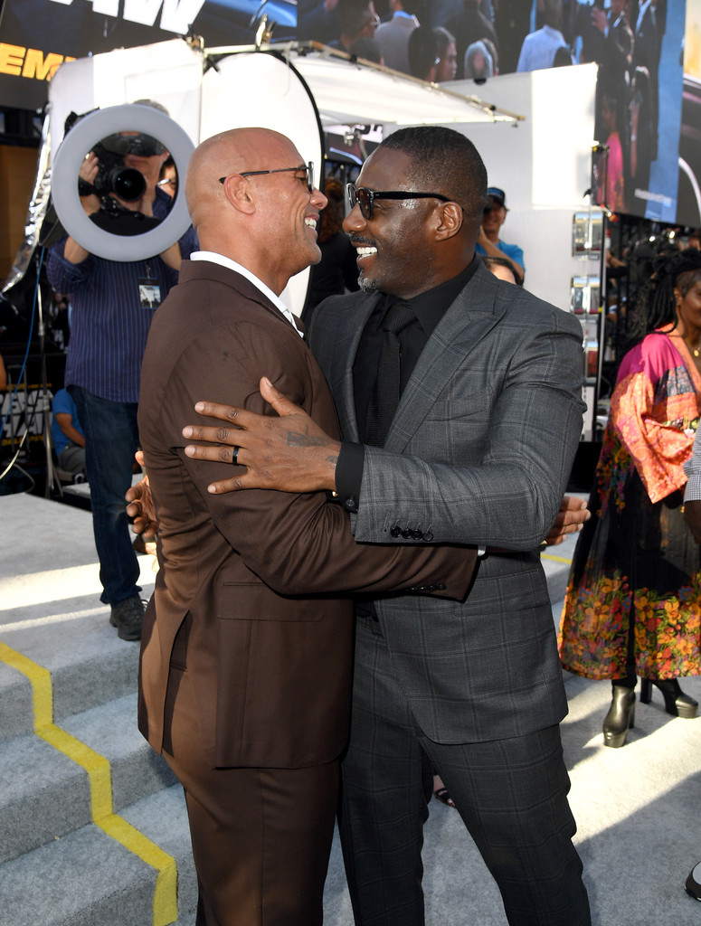 Dwayne Johnson and Idris Elba Fast and Furious Presents Hobbs and Shaw World Premiere Hollywood Los Angeles
