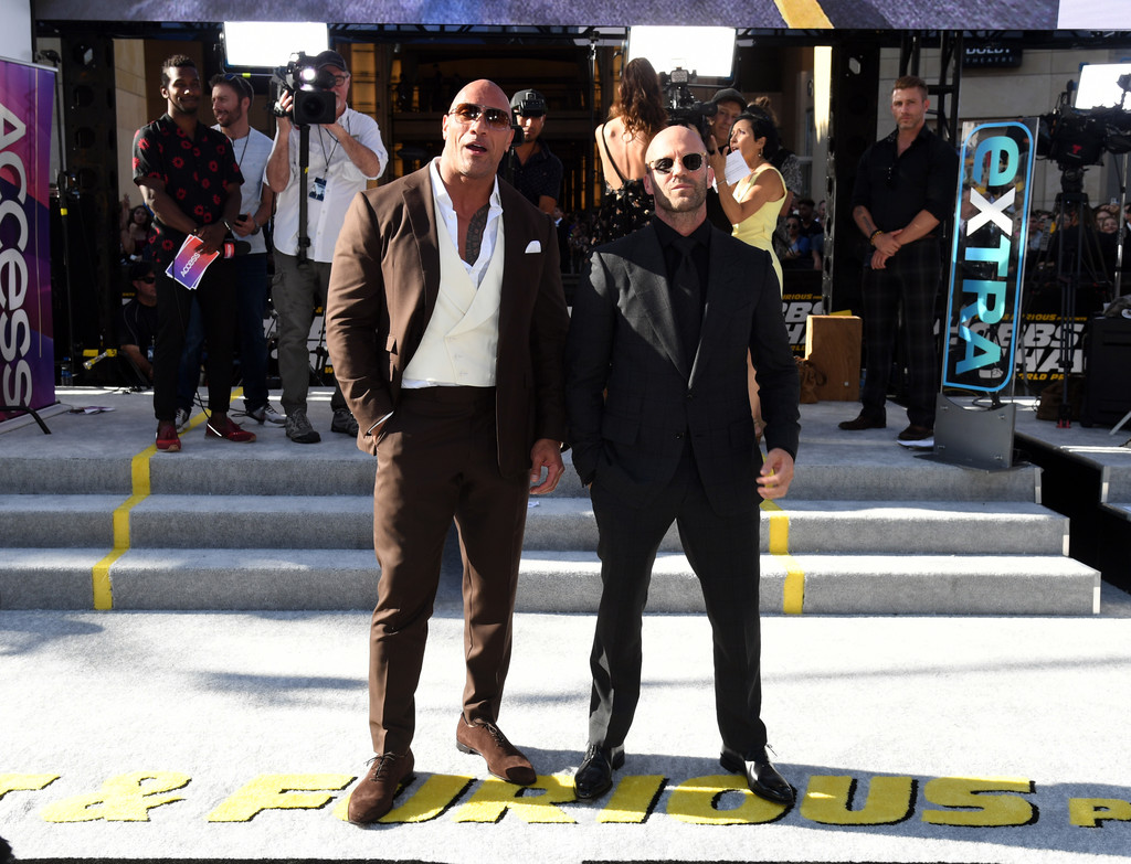 Dwayne Johnson and Jason Statham Fast and Furious Presents Hobbs and Shaw World Premiere Hollywood Los Angeles Arrival
