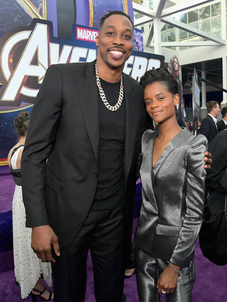 Dwight Howard and Letitia Wright Marvel Avengers Endgame World Premiere Los Angeles Hollywood