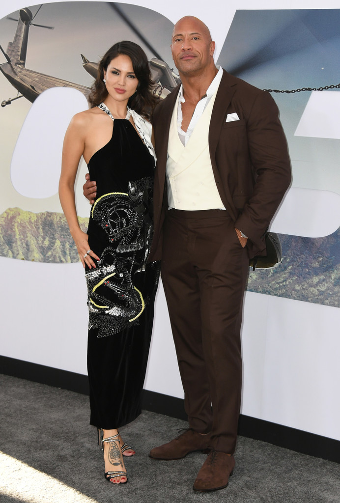 Eiza Gonzalez and Dwayne Johnson Fast and Furious Presents Hobbs and Shaw World Premiere Hollywood Los Angeles