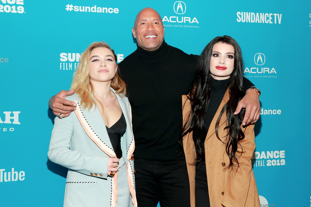 Florence Pugh, Dwayne Johnson and Paige Knight 2019 Sundance Film Festival Fighting With My Family Screening