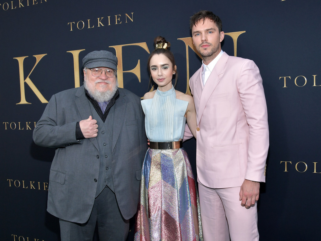 George R. R. Martin, Lily Collins and Nicholas Hoult Tolkien Los Angeles Premiere