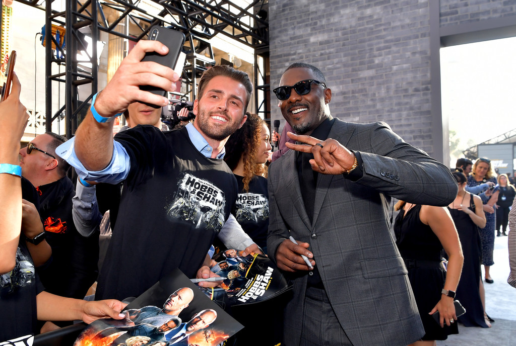 Idris Elba meets fans Fast and Furious Presents Hobbs and Shaw World Premiere Hollywood Los Angeles