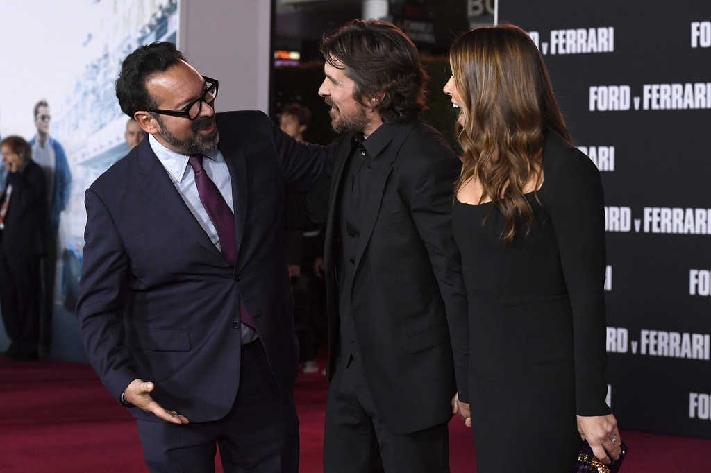 James Mangold, Christian Bale and Sibi Blazic Ford v Ferrari Hollywood Premiere Los Angeles