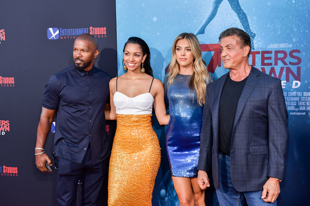 Jamie and Corinne Foxx and Sistine and Sylvester Stallone 47 Meters Down Uncaged Los Angeles Premiere